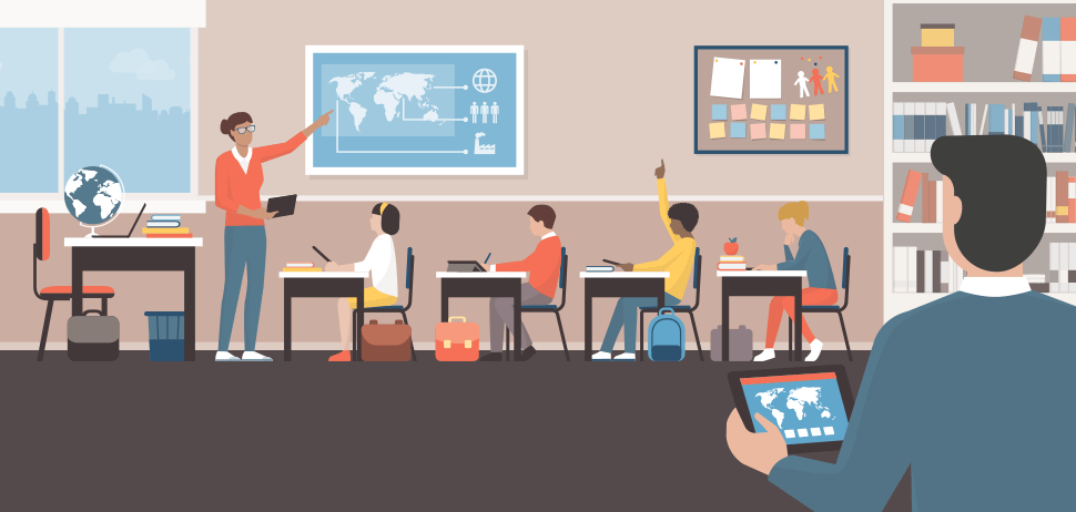 Illustration of a classroom using tablets.