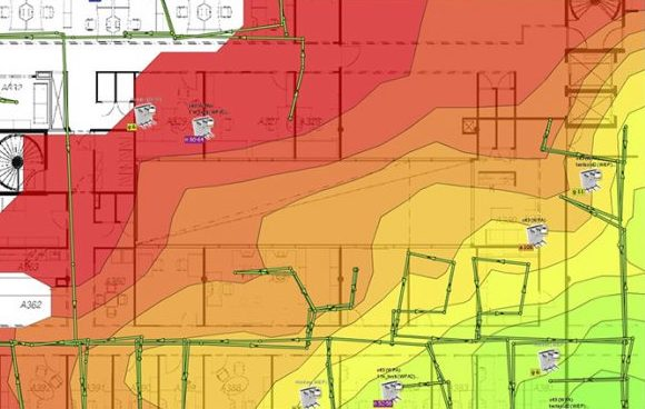 A wifi heatmap showing wifi coverage around a property.